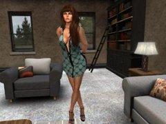 Fred Adjani qui discute chez lui avec une jolie copine virtuelle