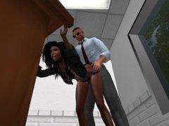 Fred Adjani se tape une jolie black en mini jupe dans une sale de réunion