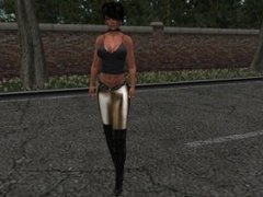 Une très jolie brune virtuel en pantalon
