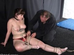 Amateur bondage and homemade suspension of dominated submissive in restrain