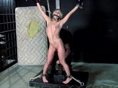 Nipple Clamped and Gagged Submissive takes Slut Slapper on Roped Pussy pt.2