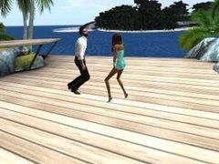 Fred Adjani et Charlotte en mini robe dansent au bord de mer