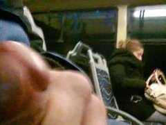 Handjob front of a girl on the bus