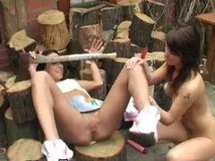 Teen girl masturbates in bathtub Cutting wood and slurping pussy