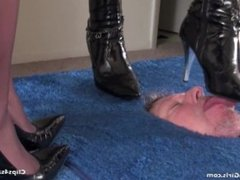 Face torture in heels and nylons