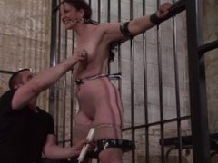 Slave Caroline Pierces frontal whipping and tied dungeon bondage of spanked