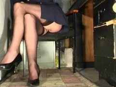 Susanna Francessca upskirt in stockings, in the office