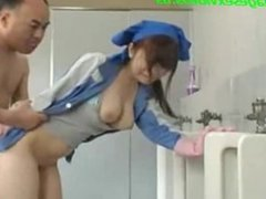 Asian Beauty Is Cleaning The Mens Room - teenagesexvideos.us