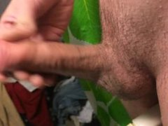Jerking my uncut cock in the shower and cumming