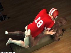 3D Cartoon Football Stud Ass fucking Tight Black Bottom