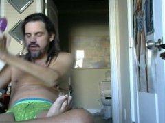 Deep throating my double dido in green panties
