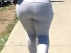 Black Bitch Ass In White Leggings!BBW BLACK