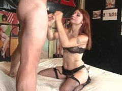 Red head violet Monroe gets fucked in her fishnet stockings part 1
