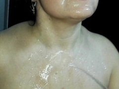 Pissing peeing on hot MILF in the mouth in shower who has orgasm