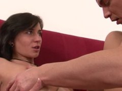 MILF beauty performs striptease and gets fucked