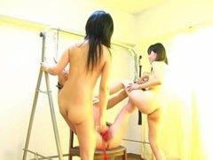 Japanese Foot Fetish - 2 Girls humiliate their Boss