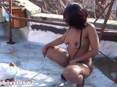 Naked Outdoor Ebony Model Photoshoot