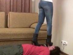 Femdom Trampling in High Heel Boots