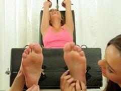 Ticklish Elisa in socks and nylon