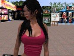 Une jolie brune virtuel en jean et tee shirt rose décolleté