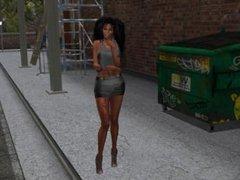 Une jolie marocaine virtuel en mini jupe noir