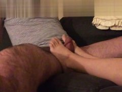 fucking and cumming on wife's feet