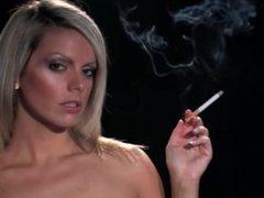Pretty blonde smoking Marlboro Red 100 topless