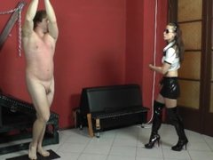 Witty slave gets with the whip