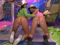 Brunette glasses doggystyle Hairy Kim and smooth-shaven Janet