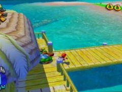 2 boys have a fun time playing Super Mario Sunshine.