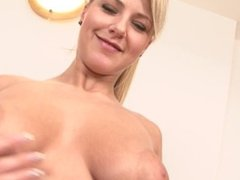 Eager blonde MILF with juicy natural tits fucked by black dick