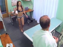 FakeHospital: Busty Brunette Teen Goes In For Check Up And Gets A Cock