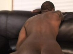 Black dude gets his asshole worshipped by skinny white guy