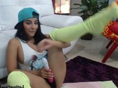 Big breasted teen latina with teeth-brace is playful