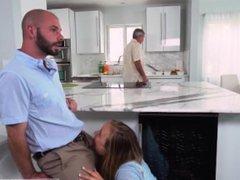 Blonde finnish teen Alyssa Gets Her Way With Daddy's Friend