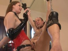 Young Mistress Strapon Fucks Old Tied Up Slave (Femdom)
