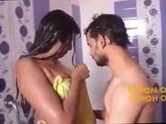 Swathi naidu remove bra on bathroom with Young boy