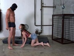 Cute teen girl punished by a guy