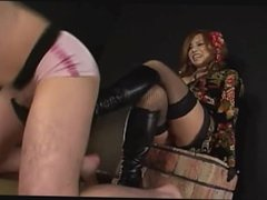 Japanese girl nice bootjob from behind