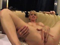blonde milf anal toy swallow