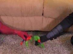 Batman shoves big gun in spidermans anus then shoots big load in face