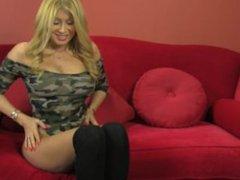 Blonde whore Lisa Daniels Sucks and fucks her dildo for you