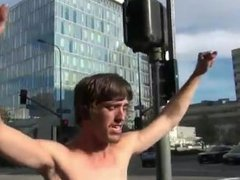 TWO MEN FROM OCCUPY LOS ANGELES WALK NAKED THROUGH MAIN STREET