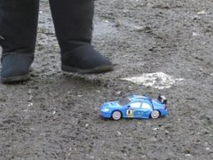 Toy car crush in muddy boots, BBW