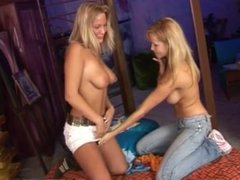 Lesbian threesome with mature couple Two sugary-sweet ash-blonde lesbians