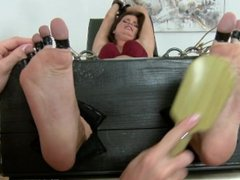 Kami tickled with all toes tied back