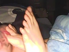 Slave and wife sweaty feet - home dogslave footjob