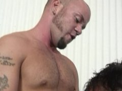 Shaved head latino wants to put a creampie into his DILF coworker