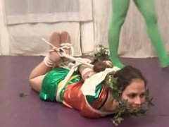 Robin taken down and tied up by vine girl