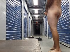 Mark strips naked in public storage unit and jacks off!